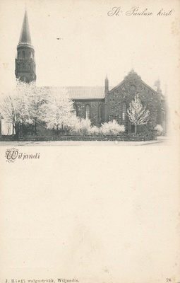 Postcard, Viljandi, Paulus Church approx. 1905 f J.Riet  duplicate photo