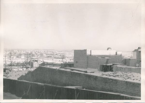 Construction of the theatre Vanemuine. View from Vanemuise t. Tartu, 1961.