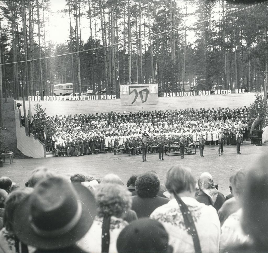 Photo and negative. Dance in Võru district - and song festival on June 10-11, 1967. Kubija Song Square, opening.