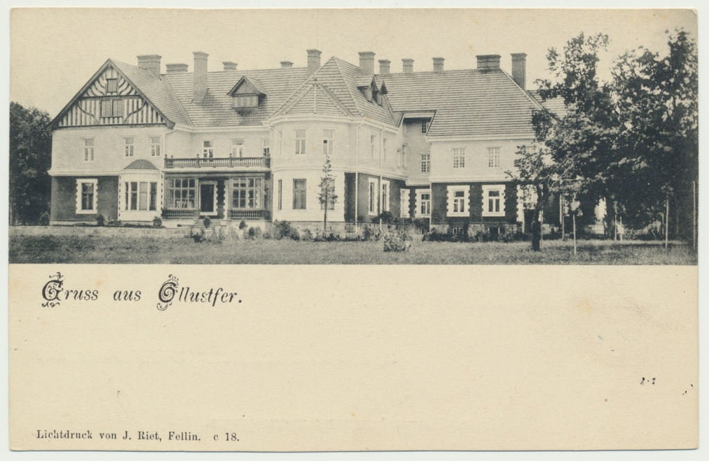 Print postcard, Viljandimaa, Olustvere, main building of the manor, from the back, approx. 1905, photo and publisher J. Riet