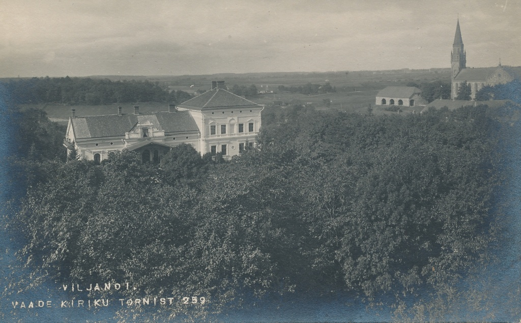 Photo, Viljandi, view from the tower of the Jaan Church to the manor and the Paulus Church, approx. 1910, photo J. Riet