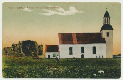 Printing card, Karksi Church and castle roofs approx. 1910  duplicate photo