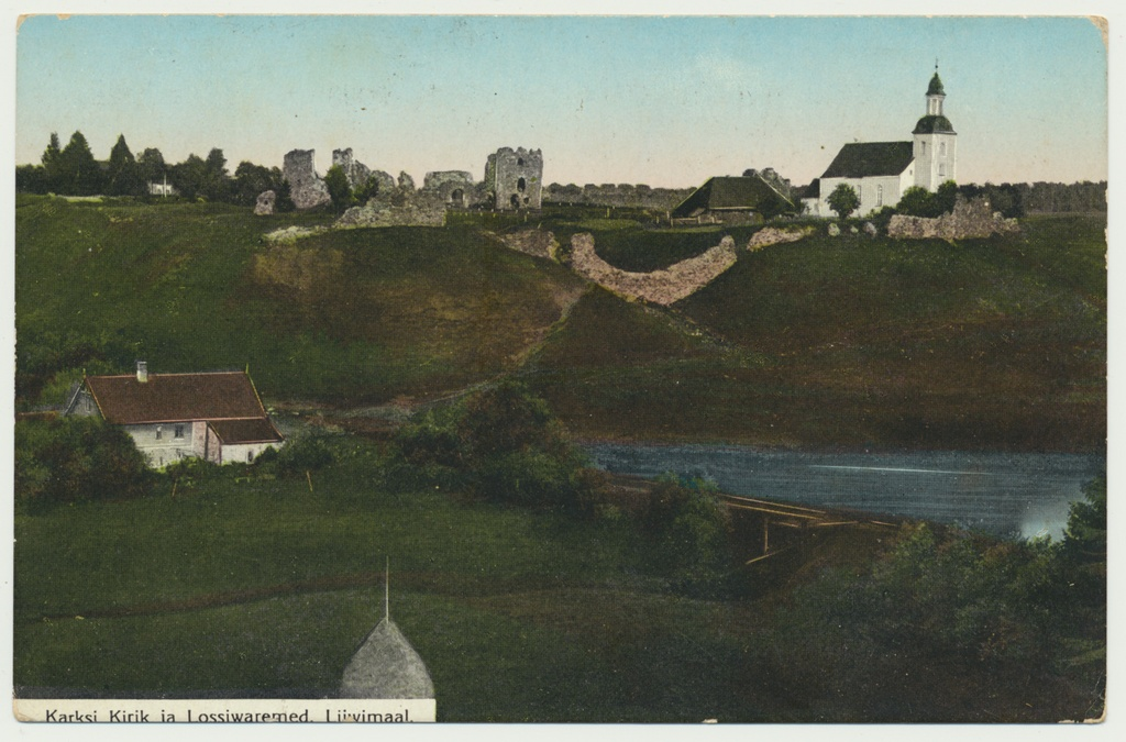 Printing card, Colored, Viljandimaa, Karksi noble, castle resorts, church, approx. 1910