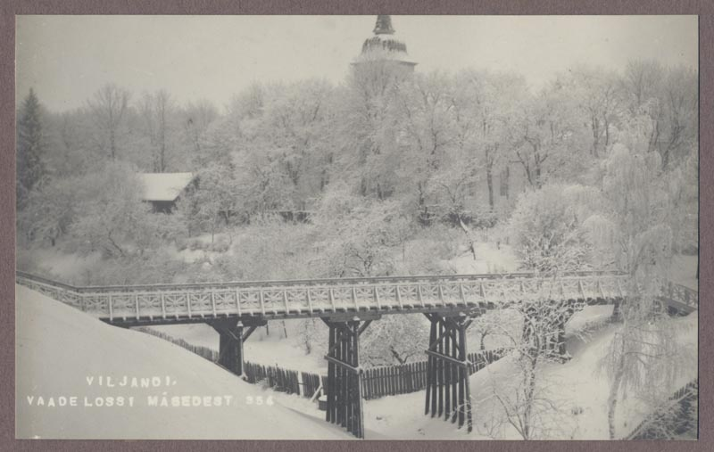 Photo, Viljandi, Castle Mountains, Vareses bridge, by the lake, behind Jaani Church, winter, approx. 1930