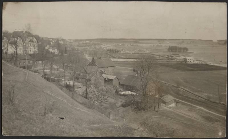 Photo postcard, Viljandi, general view of castle mountains to the city