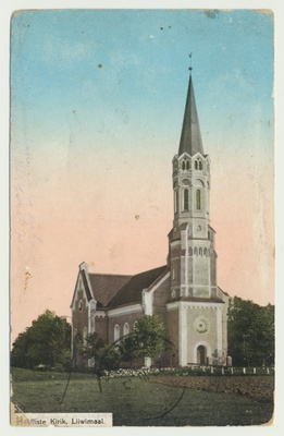 Postcard, Colored, Viljandimaa, Halliste Church, approx. 1910  duplicate photo