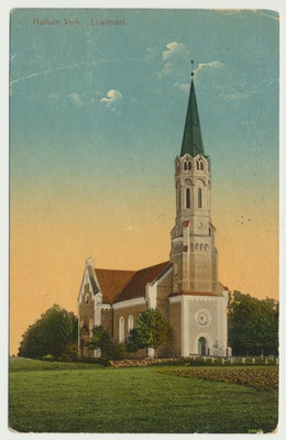 Postcard, Viljandimaa, Halliste church approx. 1910, Colored  duplicate photo
