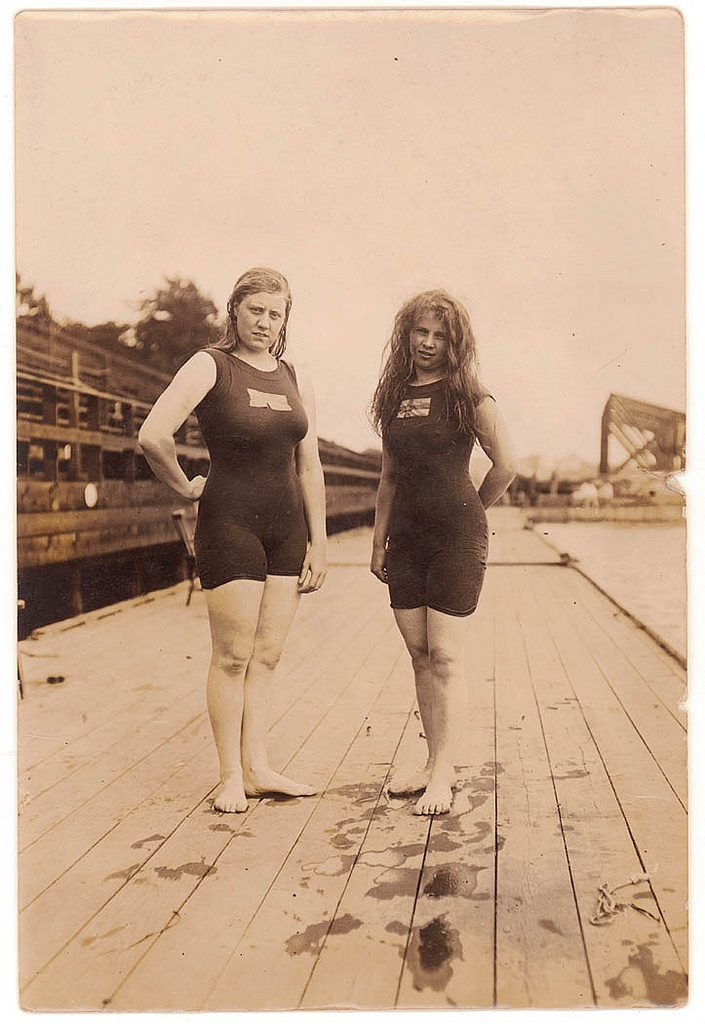 Possibly Mina Wylie with an unidentified female swimmer, probably Stockholm Olympics, 1912