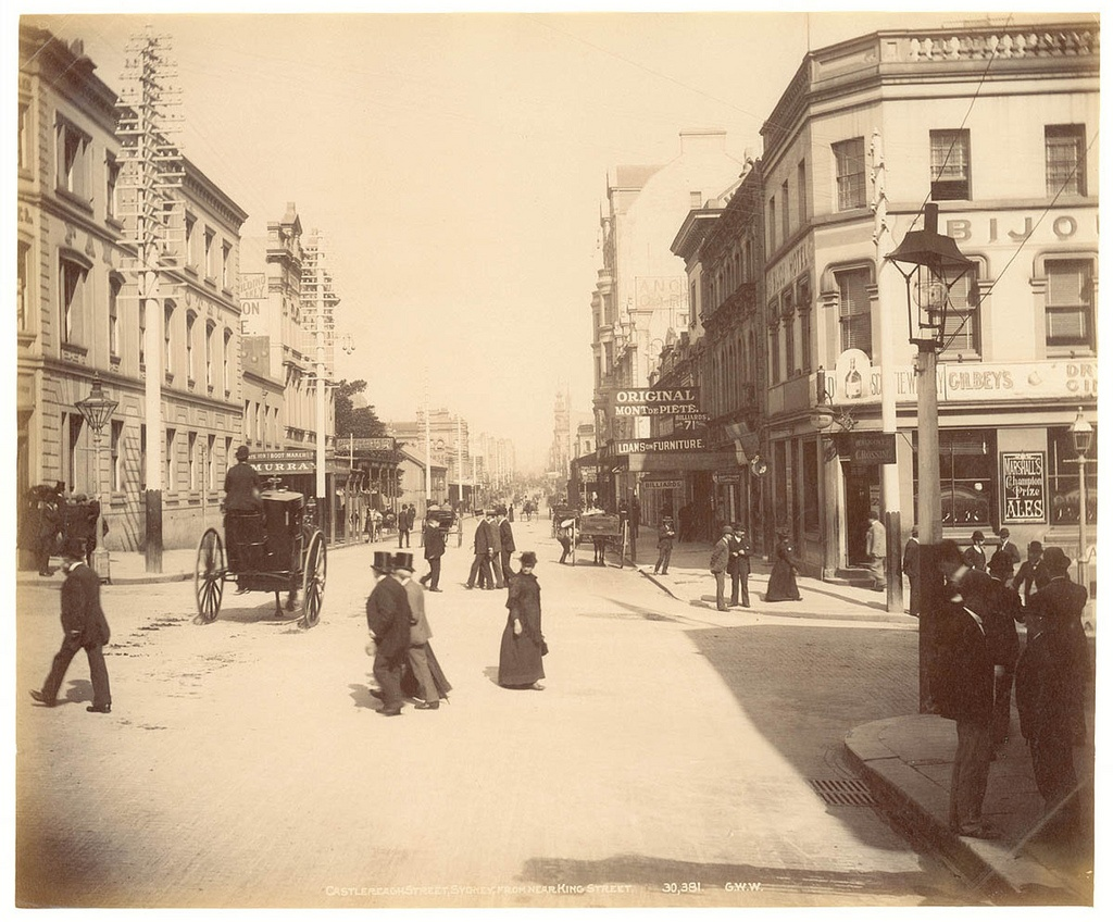 Castlereagh St, Sydney, from near King St from Fred Hardie - Photographs of Sydney, Newcastle, New South Wales and Aboriginals for George Washington Wilson & Co., 1892-1893