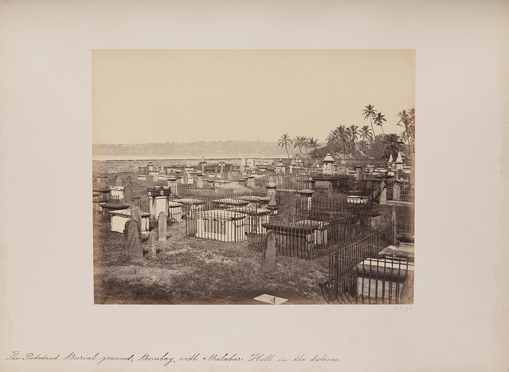 The Protestant Burial-ground, Bombay, with Malabar Hill in the distance