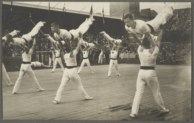 Finnish team winning silver in the free system competition at the Stockholm Olympics