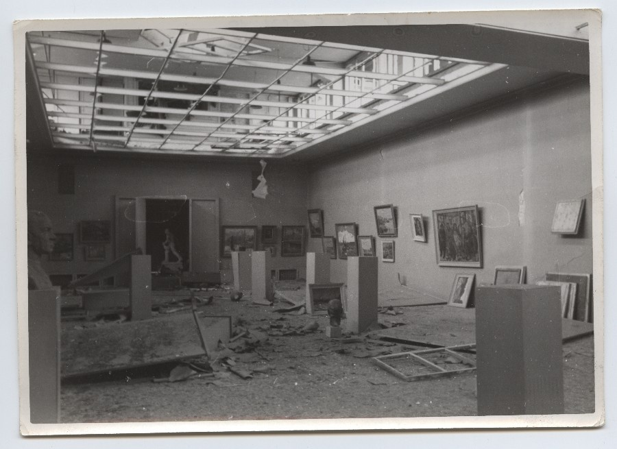 View Art Building Exhibition Hall after bombing.