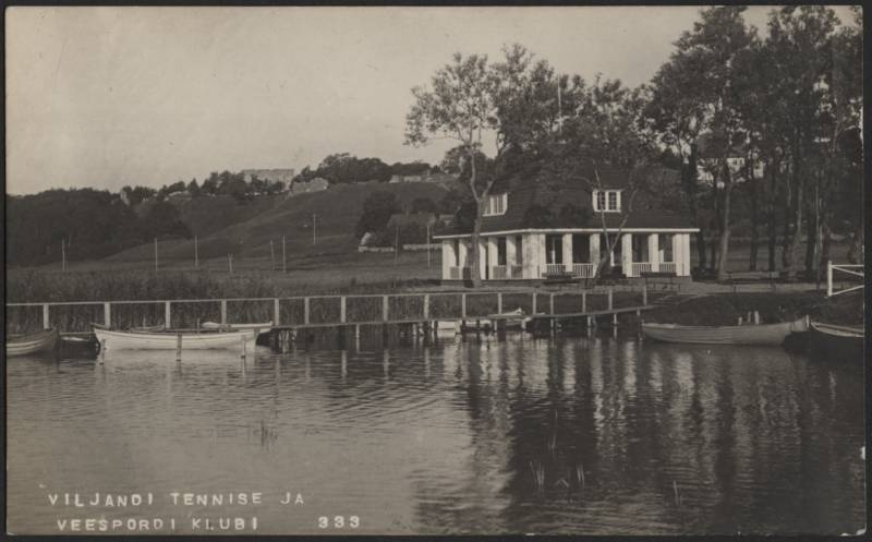 Photo postcard, Viljandi, lake, boat bridge, sports club