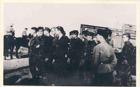 Events of World War II in Narva. A group of German prisoners of war