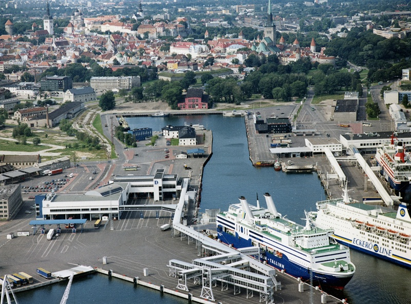 Port of Tallinn, aerial photography, view of Old Town, the centre-plan Admiralite basin, left on the Rotermann Quarter