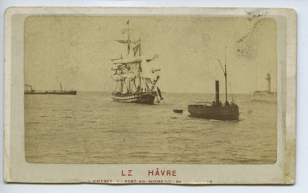 Sailing ship and tower in the port of Le Havre