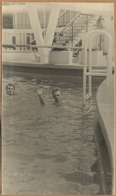 "Motor ship ""Mahtra"" travel records. Two men swim in the outdoor yacht"