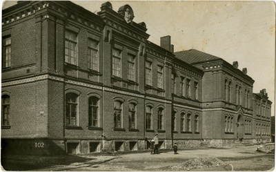 Building of the Livonian School of Earth, facade view. Architect R. Häusermann (Riya)  duplicate photo