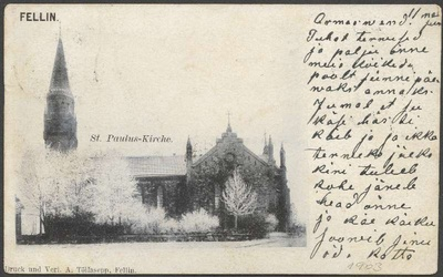 Postcard, Viljandi Paulus Church  duplicate photo