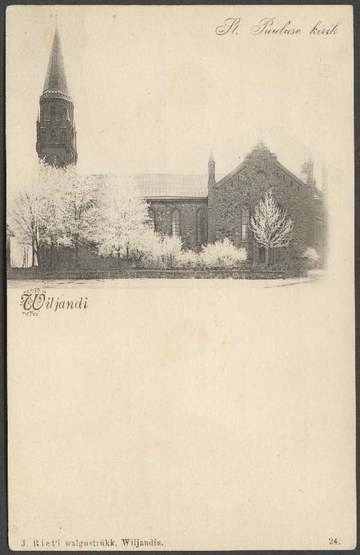 Postcard, Viljandi Paulus Church