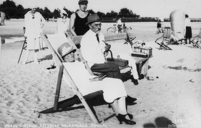 Writer a. Kitzberg with her husband on the beach  duplicate photo