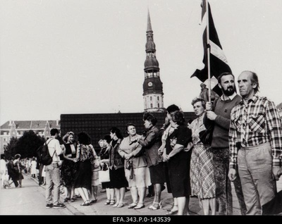 The Baltic chain in Riga Molotov - Ribbentrop Pact was concluded on the 50th anniversary.  duplicate photo