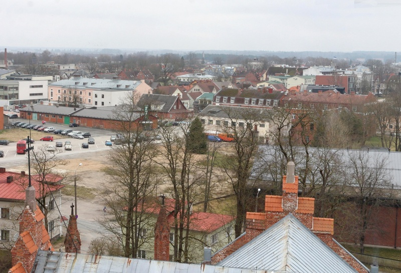 Photo, Viljandi, general view of the city from the tower of the Paulus Church to Tartu mnt rephoto