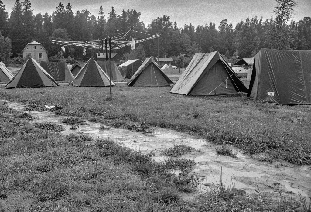 Rastila Camping camping area. The campsite has tents and washing dryer, which has been enclosed to dry the towels.