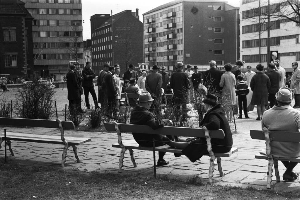 Bear park. Helsinki celebrations. People in the Bear Park at the time of the park event. In front of women sitting on the penis, one woman's feet lifted on the bench. Behind people watching the game around the big chess table. View from Agricolankadul towards the fifth line.