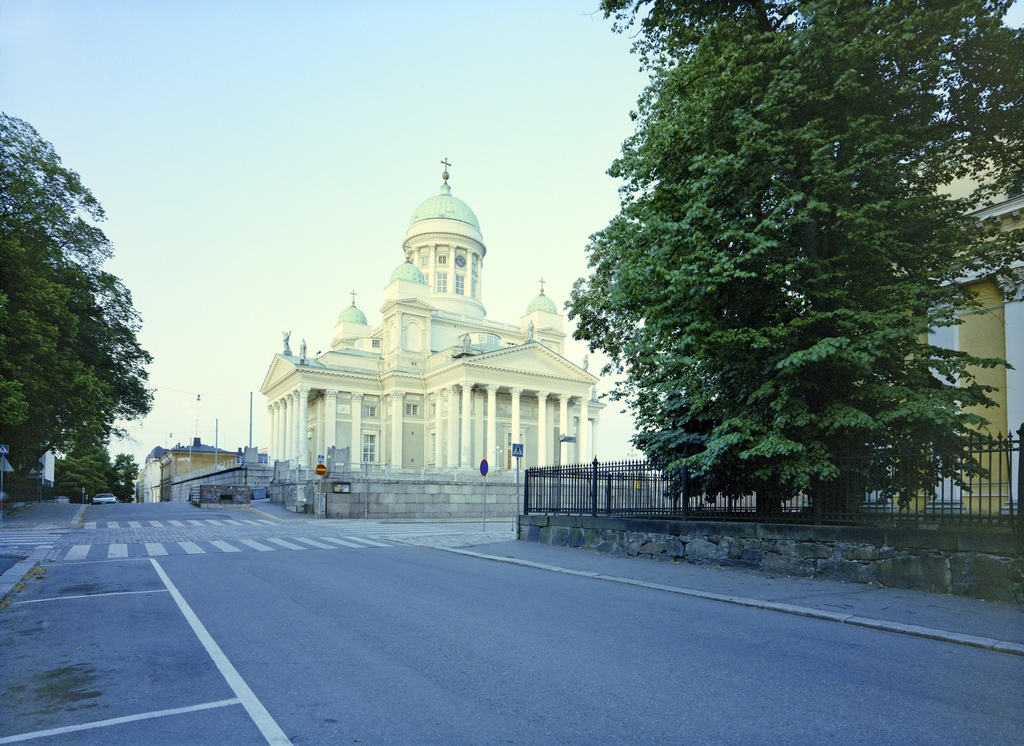 The Helsinki Cathedral is seen from the Church Street on the corner of the University Library