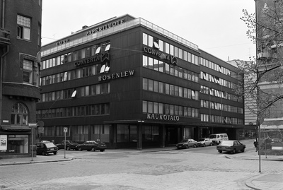 Kaukotalo, Fabianinkatu 9. - southern Makasin Street 6. The building was completed in 1963.The photo archives of the Helsinki City Museum were located in Talo. 1974-1989.  similar photo