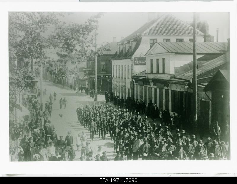 German troops marching on the castle street.