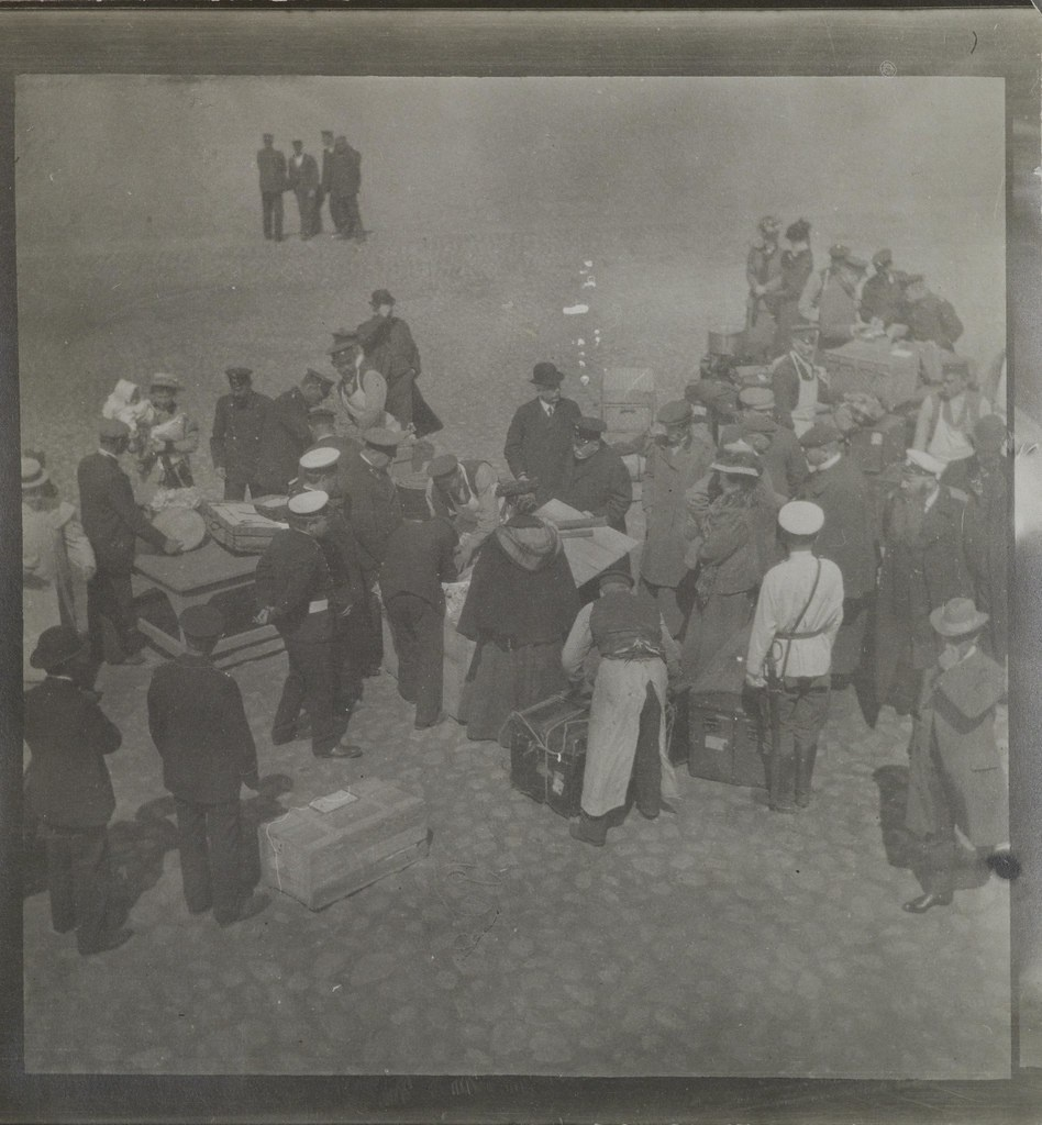 Left-hand half of a stereoscopic photograph depicting a scene at the harbour in Tallinn, Estonia