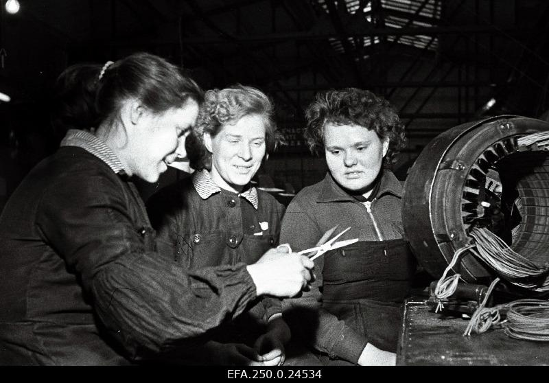 Members of the Volta Communist Work Brigade of the Electric Motor Factory: Brigadier Valentina Kii (from the left), Lidia Kängsepp, Elle Soopere.