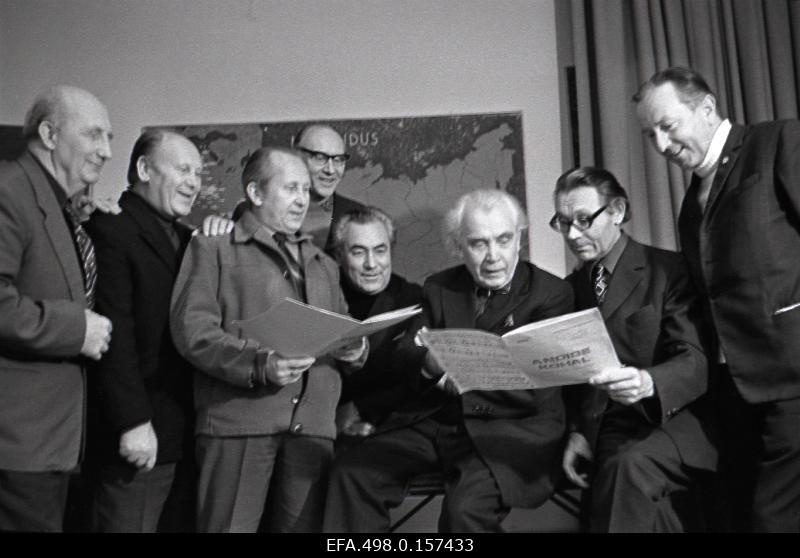 Composer and conductor Gustav Ernesaks with members of the National Academic Male Choir Quartet.