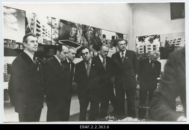 Members of the Central Committee of the ECB and the Estonian Soviet government at an architectural exhibition in the Art Hall