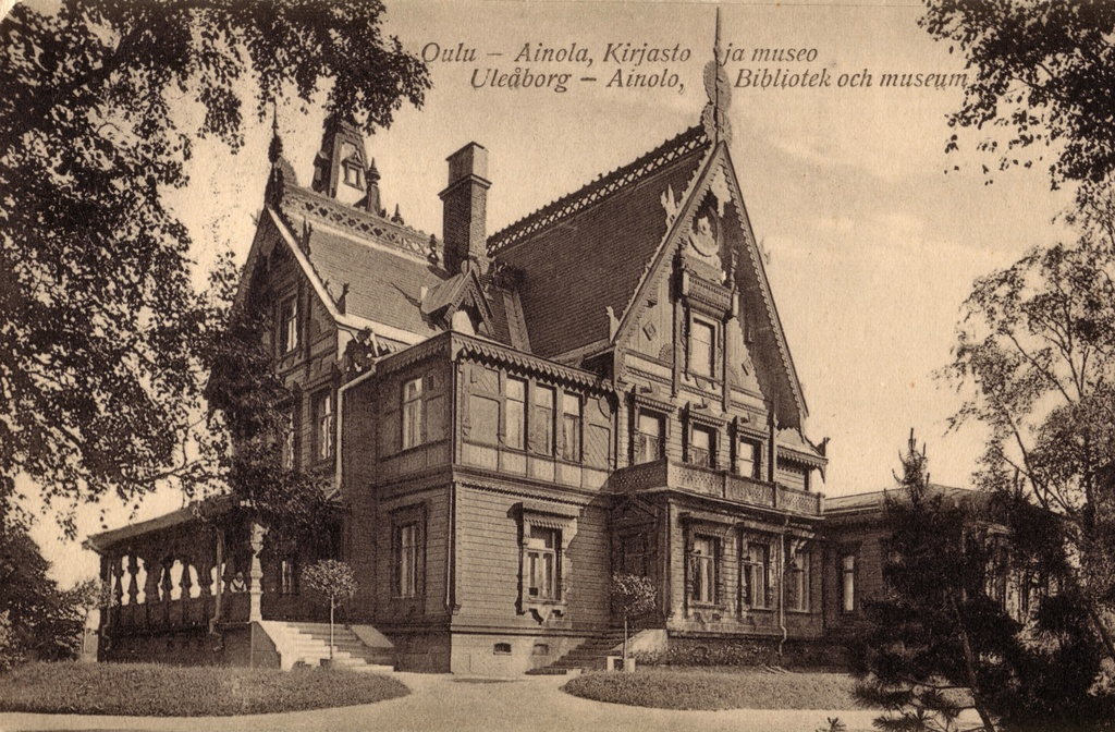 Ainola Museum Oulu pre 1929 - A postcard of Ainola museum and library.  It was designed by Swedish architect J. E. Stenberg and completed in 1888. Building was destroyed in a fire in 1929.
