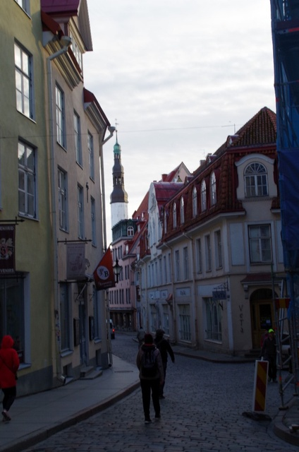 View from Pikka Street to the Rataskaev Street in the Old Town of Tallinn rephoto
