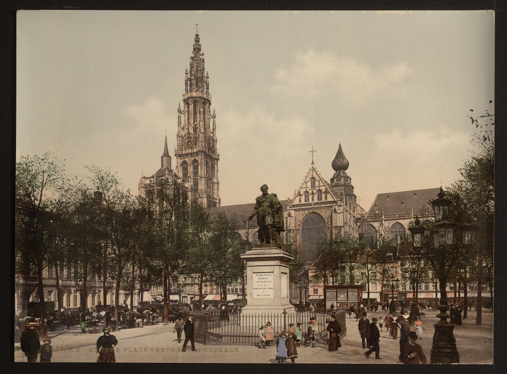 Antwerp Groenplaats, photochrom (unedited original) - Groenplaats (Green Square) in Antwerp (ca. 1890-1900). Foreground: statue of Peter Paul Rubens. Background: Cathedral of Our Lady.