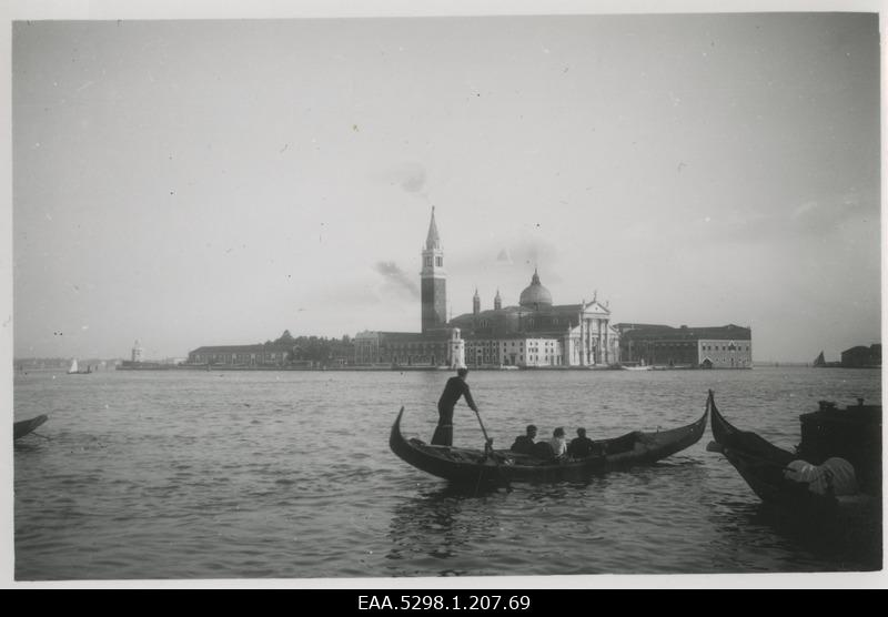 View of gondliers in Venice