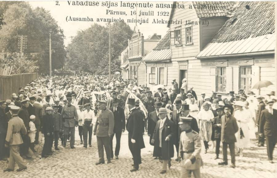 Photo postcard, An opening of the fair pillar of those who fell in the War of Independence in Pärnu, 16 July 1922.