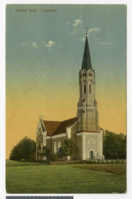 Postcard, Halliste Church  duplicate photo