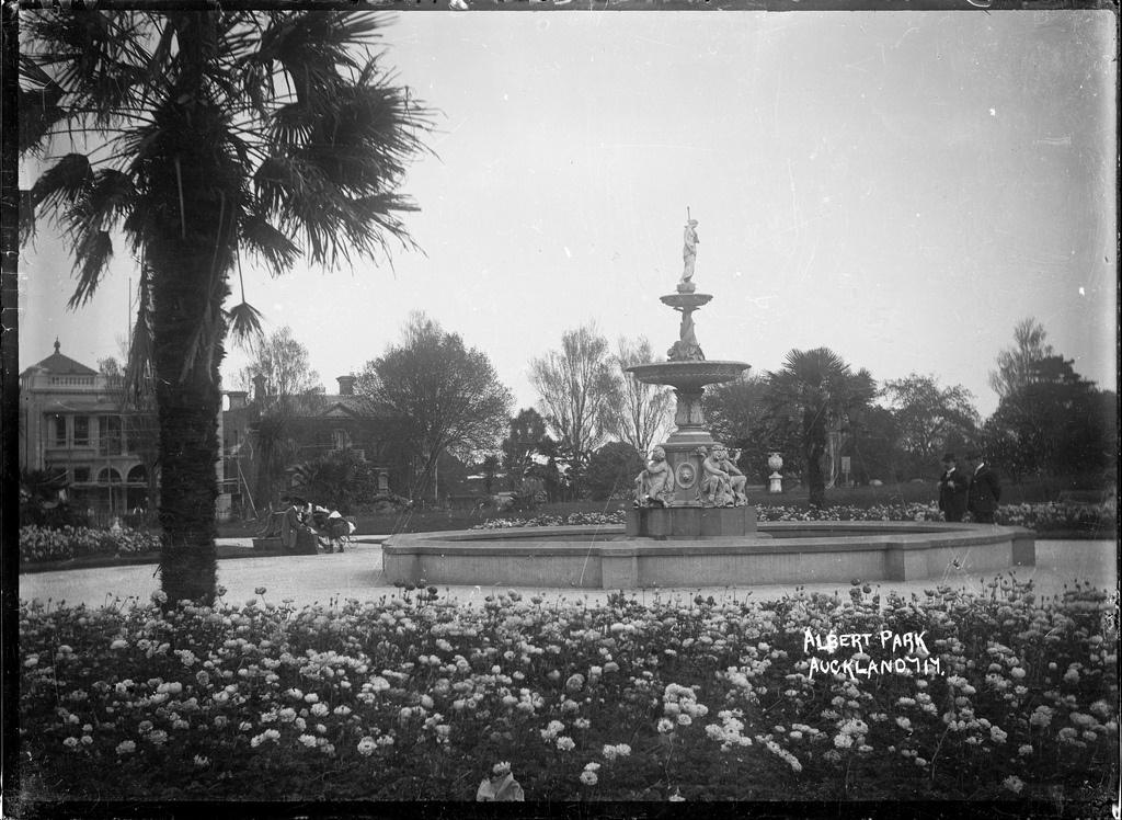 View of the fountain in Albert Park, Auckland