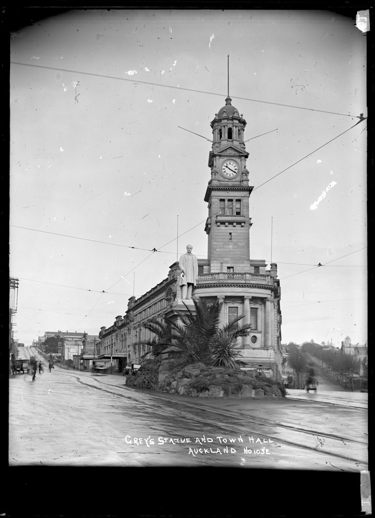 View of Auckland Town Hall, Auckland and statue of Sir George Grey