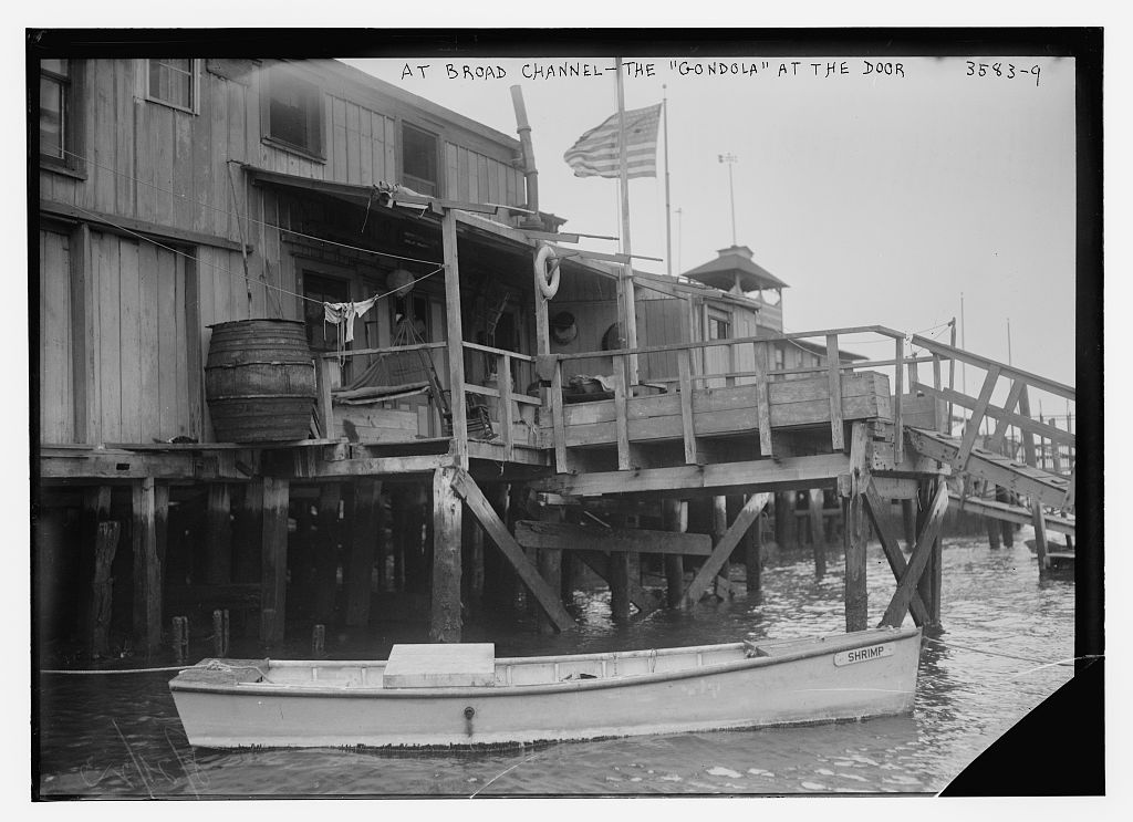 "At Broad Channel -- the ""Gondola"" at the door  (LOC)"