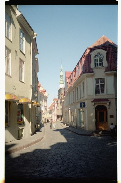 View from Pikka Street to the Rataskaev Street in the Old Town of Tallinn