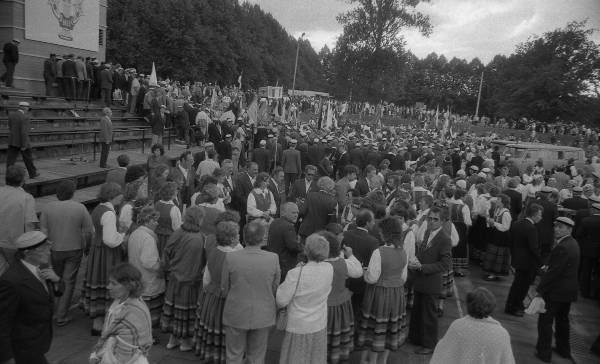 Great Song Festival in Tartu. 1989. Singing at the Tamme Stadium.