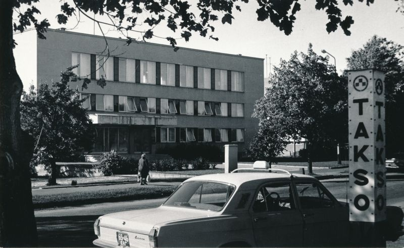 Photo. Ecb Haapsalu District Committee building Winning tn. 1980s.  Black and white.