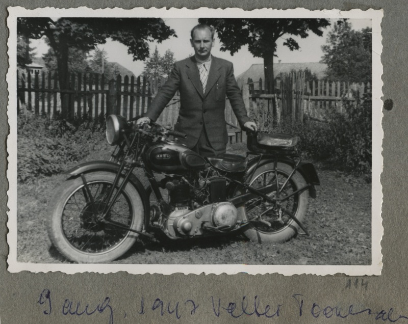 Valter Toomsalu with a motorcycle.