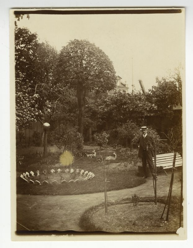 View of the garden or park, a man with a right cable.